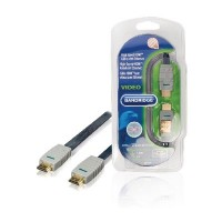 High Speed HDMI kabel met Ethernet Plat HDMI-Connector - HDMI-Connector 1.00 m Blauw